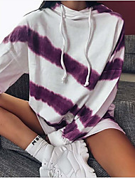 cheap -Women's Hoodie Striped Casual Hoodies Sweatshirts  Blue Purple Camel