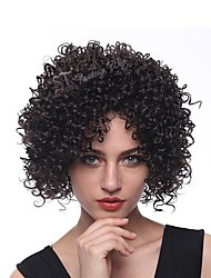 cheap -Remy Human Hair Wig Short Kinky Curly Natural Straight Side Part Natural Designers Cool Natural Hairline Capless Malaysian Hair Chinese Hair Women's Natural Black #1B Natural Black 8 inch
