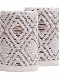 cheap -hand towels set of 2 100% cotton diamond pattern highly absorbent soft towel for bathroom 13 x 29.5 inch & #40;brown& #41;