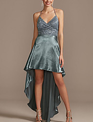 cheap -A-Line Glittering Sexy Homecoming Cocktail Party Dress Halter Neck Sleeveless Asymmetrical Satin with Lace Insert 2021