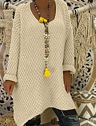 Χαμηλού Κόστους -Γυναικεία Μονόχρωμο Μακρυμάνικο Πουλόβερ Πουλόβερ Jumper, Στρογγυλή Λαιμόκοψη Λευκό / Κίτρινο / Ανθισμένο Ροζ Τ / M / L