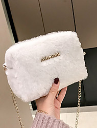 cheap -Women's Faux Fur Crossbody Bag Fur Bag Letter White / Black / Blushing Pink