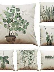 cheap -1 Set of 6 Pcs Botanical Series  Decorative Linen Throw Pillow Case Cushion Cover 18 x 18 inches 45 x 45 cm