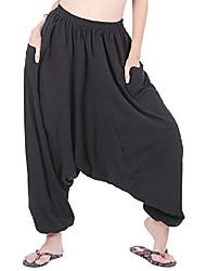 cheap -men women cotton loose baggy boho gypsy aladdin yoga harem pants (dark red)