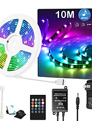cheap -32.8ft 10 Meter Music Synchronous Happy Multicolour Light Strip 5050 RGB LED Flexible Strip Light with 20 key IR Controller Optional with Adapter Kit DC12V