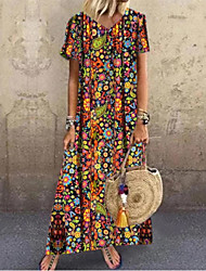 cheap -Women's Swing Dress Maxi long Dress Short Sleeve Floral Summer Hot Casual Boho 2021 Red S M L XL XXL