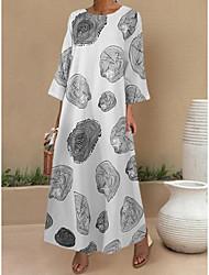 cheap -Women's A-Line Dress Maxi long Dress - Long Sleeve Print Print Summer Hot Casual Loose 2020 White Black S M L XL XXL 4XL