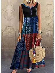 cheap -Women's A Line Dress Maxi long Dress Navy Blue Sleeveless Color Block Summer Round Neck Hot Casual 2021 M L XL XXL 3XL