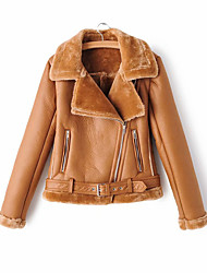 cheap -Women's Winter Faux Leather Jacket Short Solid Colored Daily Black Brown S M L XL