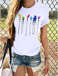 cheap -Women's T shirt Graphic Prints Round Neck Tops 100% Cotton Basic Top Cat White Grey