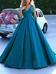 cheap -Ball Gown Minimalist Elegant Quinceanera Prom Dress V Neck Sleeveless Sweep / Brush Train Satin with Pleats 2020
