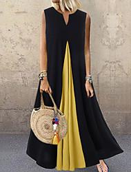Недорогие -Жен. Платье в стиле 50-х годов Длинное платье - Без рукавов Контрастных цветов Лето V-образный вырез На каждый день Свободный силуэт 2020 Белый Черный Dusty Blue S M L XL XXL XXXL XXXXL XXXXXL
