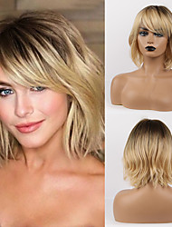 cheap -50% human hair & 50% high quality synthetic Wig Medium Length Curly Natural Wave Asymmetrical Side Part With Bangs Blonde Women Fashion Natural Hairline Capless Women's Female Young Girl Medium Brown