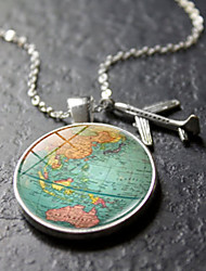 cheap -Women's Pendant Necklace Handmade Maps Vintage Steampunk Glass Alloy Silver 50 cm Necklace Jewelry For Gift Festival