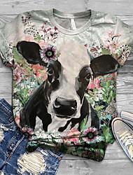 cheap -Women's T-shirt Floral Animal Flower Print Round Neck Tops Basic Basic Top Blue Light Green