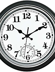 cheap -smilemary 12-inch indoor/outdoor retro silent non-ticking waterproof wall clock with thermometer,battery operated quality quartz round clock wall decorative for patio/home