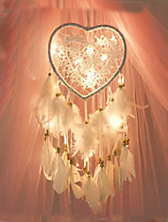 cheap -Led Boho Dream Catcher Handmade Gift Wall Hanging Decor Art Ornament Craft Feather Bead Heart 60*15cm for Kids Bedroom Wedding Festival