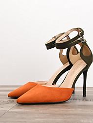 cheap -Women's Heels Summer Stiletto Heel Pointed Toe Daily PU Black / Red / Fuchsia