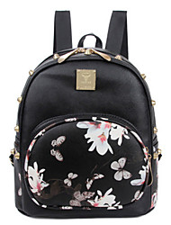 cheap -Commuter Backpack Women's PU Leather Pattern / Print Daily White / Black