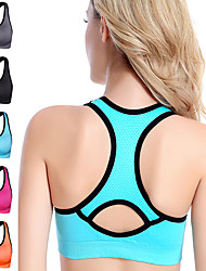 cheap -Women's Sports Bra Bra Top Bralette Racerback Spandex Yoga Fitness Gym Workout Breathable High Impact Soft No Padded High Support Black Fuchsia Blue Orange Gray Solid Colored / Stretchy / Athletic