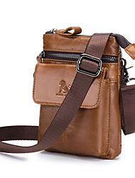 cheap -Men's Bags Cowhide Fanny Pack 2 Pieces Purse Set Zipper Bum Bag Daily Black Brown