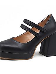 cheap -Women's Heels / Lolita Shoes Spring / Summer Block Heel Square Toe Classic Vintage Daily PU Almond / Black