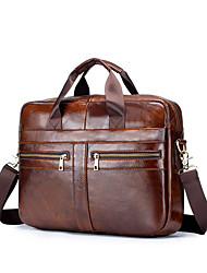 cheap -Men's Bags Cowhide Shoulder Messenger Bag Laptop Bag Briefcase Belt Zipper Handbags Daily Office & Career Black Brown