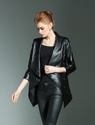 cheap -Women's Faux Leather Jacket Long Solid Colored Work Black S M L XXL / Slim