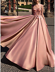 cheap -Ball Gown Beautiful Back Pink Engagement Prom Dress Illusion Neck Sleeveless Court Train Polyester with Appliques 2020