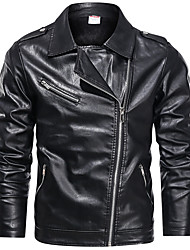 cheap -Men's Stand Collar Faux Leather Jacket Regular Geometric Daily Print Long Sleeve Black Wine US32 / UK32 / EU40 US34 / UK34 / EU42 US36 / UK36 / EU44 US38 / UK38 / EU46 / Sports