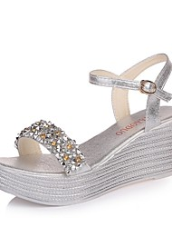 cheap -Women's Sandals Summer Wedge Heel Open Toe Daily Solid Colored PU Gold / Silver