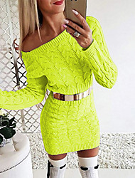 cheap -Women's Sweater Jumper Dress Short Mini Dress - Long Sleeve Solid Color Knitted Fall Winter Off Shoulder Sexy Slim 2020 White Black Blushing Pink Green Gray S M L XL