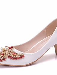 cheap -Women's Heels Summer Pumps Pointed Toe Daily Solid Colored PU White