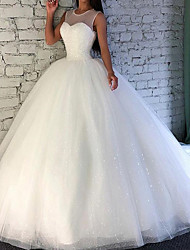 cheap -Ball Gown Wedding Dresses Jewel Neck Sweep / Brush Train Tulle Sleeveless Formal with Beading 2021