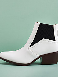 cheap -Women's Boots Fall Winter Cuban Heel Round Toe Casual Daily Solid Colored PU Booties / Ankle Boots Walking Shoes White / Black