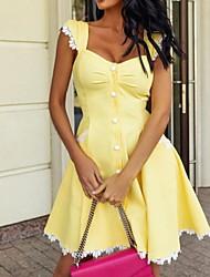 cheap -Women's A-Line Dress Knee Length Dress - Sleeveless Solid Color Summer Casual 2020 Yellow Light Blue S M L XL