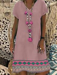 cheap -Women's Shift Dress Knee Length Dress - Short Sleeves Floral Summer Street chic 2020 Blushing Pink Gray S M L XL XXL XXXL XXXXL