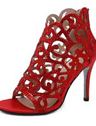 cheap -Women's Heels Summer / Winter Pumps Peep Toe Basic Sexy Roman Shoes Daily Rhinestone Solid Colored Satin Black / Light Red