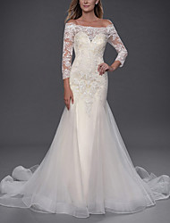 cheap -Mermaid / Trumpet Wedding Dresses Off Shoulder Chapel Train Lace Tulle 3/4 Length Sleeve Simple with Appliques 2020
