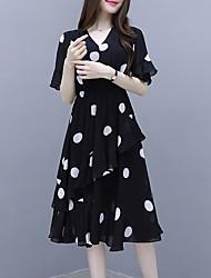 cheap -Women's Chiffon Dress Knee Length Dress - Half Sleeve Polka Dot Summer Work 2020 White Black M L XL XXL XXXL
