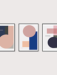 cheap -Framed Art Print Framed Set 3- Abstract Light Luxury Morandi Geometry PS Illustration Wall Art Ready To Hang