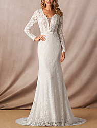 cheap -Mermaid / Trumpet Wedding Dresses V Wire Court Train Lace Long Sleeve Simple with Appliques 2021