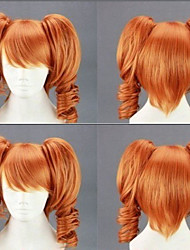 cheap -Cosplay Costume Wig Synthetic Wig Cosplay Wig Lolita Curly Cute With 2 Ponytails Wig Blonde Medium Length Light golden Black Orange Synthetic Hair 18 inch Women's Cosplay Blonde hairjoy