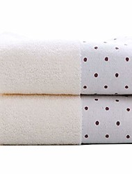 cheap -hand towel set, 2-pack, polka dot pattern cotton soft absorbent towels for bathroom, 13.4 x 29.5 inch & #40;ivory& #41;