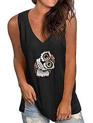cheap -Women's Tank Top Animal V Neck Tops Wine White Black