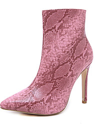 cheap -Women's Boots Fall Stiletto Heel Pointed Toe Sexy Party & Evening Sequin Snake PU Booties / Ankle Boots Walking Shoes Black / Pink