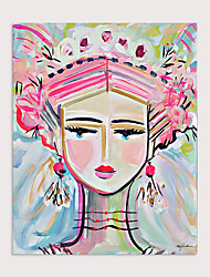 cheap -Hand Painted Modern Abstract Pink Cute Girl Oil Painting on Canvas Handmade Abstract People Wall Art for Decor Rolled Without Frame