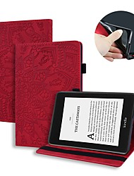 cheap -Case For Amazon Kindle PaperWhite 2 3 4 Kindle Paperwhite 2018  Amazon HD8 HD10 Card Holder with Stand Flip Full Body Cases Solid Colored Flower PU Leather
