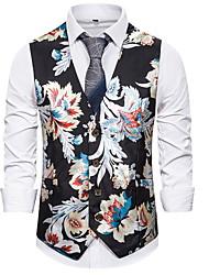 cheap -Men's Vest Floral White / Black / Navy Blue US32 / UK32 / EU40 / US36 / UK36 / EU44 / US38 / UK38 / EU46