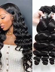 cheap -4 Bundles Hair Weaves Peruvian Hair Loose Wave Human Hair Extensions Remy Human Hair 100% Remy Hair Weave Bundles 400 g Natural Color Hair Weaves / Hair Bulk Human Hair Extensions 8-28 inch Natural